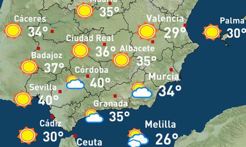 Weather Map Of Spain.Weather Forecast Costa Del Sol Costadelsol St